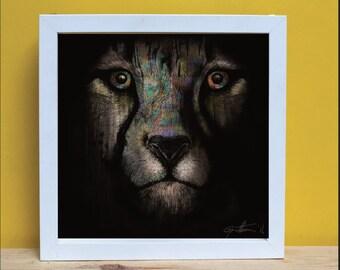 PRINT, Illustration, Cheetah, Digital print, Decoration, Feline, Black, Colours, Colourful, Present