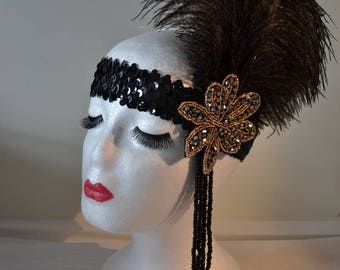 1920's Black & Gold Feather Vintage Style Headband Flapper, Great Gatsby Charleston Weddings, Proms, Parties, 1920s Themed Occasions,