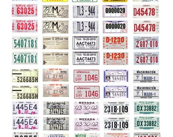 set of 50 scale model 30 day temporary car license tag plates