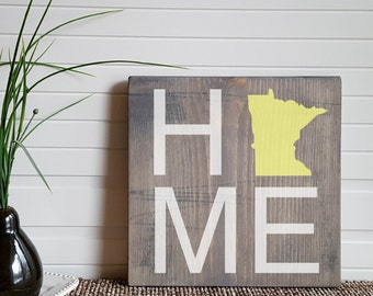 "HOME Wooden Sign with the State Outline of your Choice - 11.25"" Square"