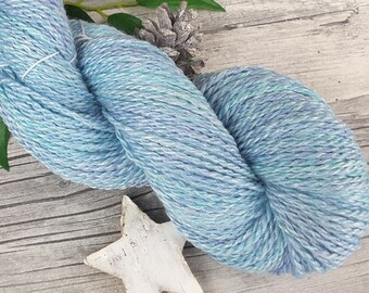 Handspun Yarn, Hand Dyed Yarn - Polwarth, Bamboo – Aran - ARCTIC DREAMS – 190yards/3,77oz