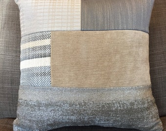 Handmade blue grey beige neutral  and patterned block cushion/pillow cover.15 x 15 inch. Neutral reverse.