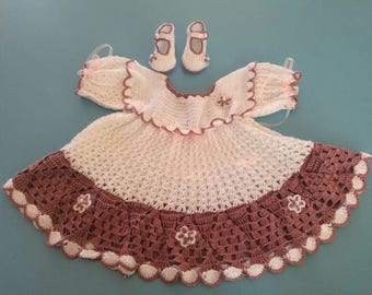 Fabric crochet for girl, dress comes with their shoes