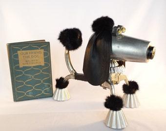 Steampunk Sculpture Dog  - Found object robot dog - Assemblage Robot Art - Repurposed Art - Junk Bot - Standard Poodle