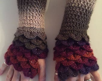Dragonscale Gloves Sparkly Wool (Ready to Send)