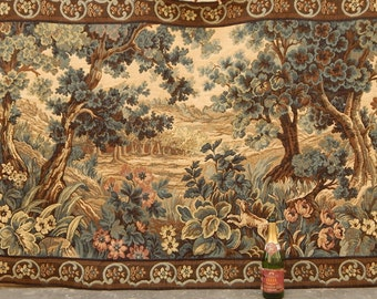 Large Vintage French Beautiful Verdure Tapestry 0539