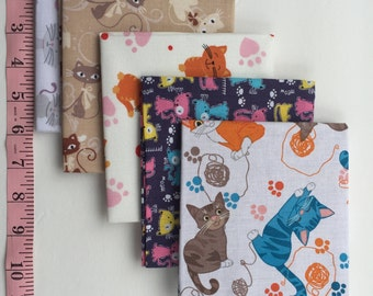 Cats, Kittens Fat Quarters 5 piece bundle