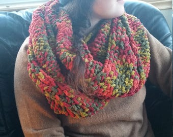 INFINITY SCARF, Handknit, Earth colours