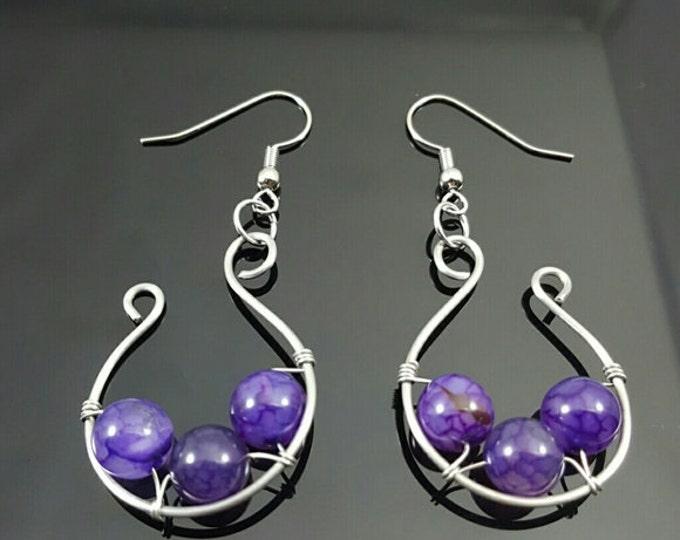 Handmade Crackle Agate Earrings
