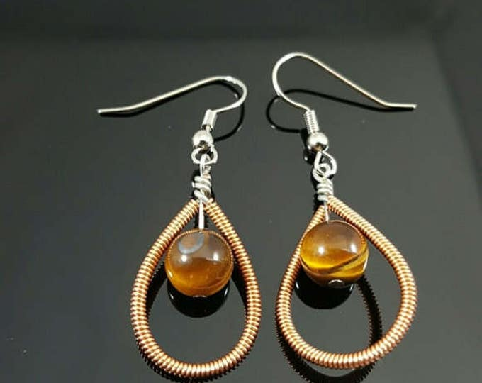Hand Wire Wrapped Tiger's Eye Earrings