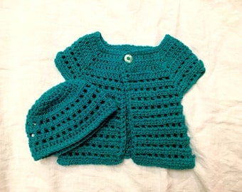 Crochet Teal Cashmere Sweater and Hat for Infant or Baby
