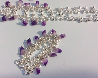 Amethyst set/necklace and bracelet/amethyst with silver