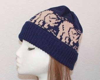 Navy Blue beanie hat with beige Triceratops Dinosaurs with or without pompom