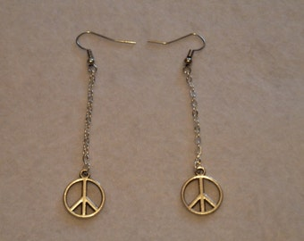 Hanging earring peace