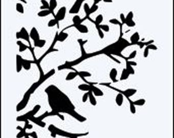SIDE BIRDS on Branches Re useable 190m mylar stencil- A5 - A4 -A3 - Free UK P & P