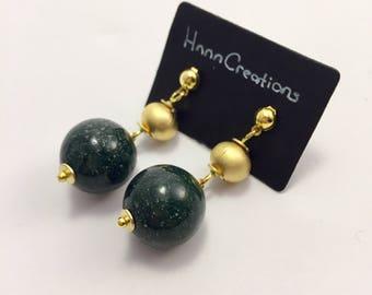Green Indian Cornelian Gemstone Earrings