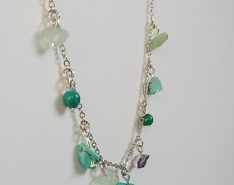 Turquoise and Fluorite Gemstone Charm Necklace