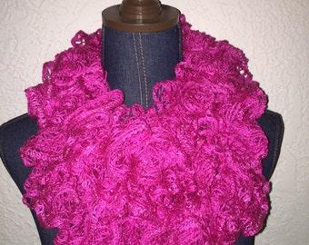 Handmade Ruffle Scarf - Hot Pink