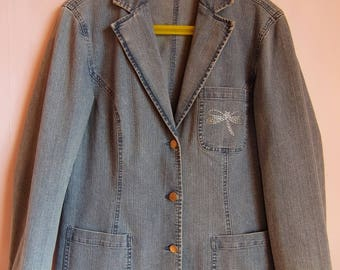 Vintage 80s Women's Jacket/Spring Summer Jacket/ Light Blue Denim Jacket/Long Jacket/Embroidered Pocket/Long Sleeve/Button Up/Size L