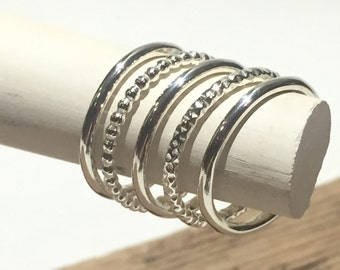 Set Of Five Sterling Silver Stacking Rings
