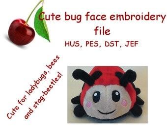 Embroidery machine design file for bug and beetle face - ladybug, bee, stag-beetle, -  kawaii cute animal