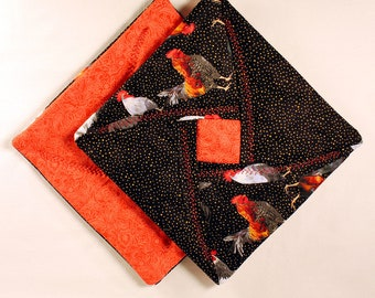 Quilted Pot Holders - Roosters / Coral