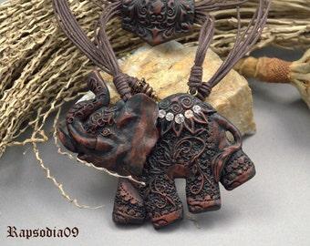 Jewelry necklace Polymer clay jewelry neckace elephant Filigree polymer clay elephant Brown boho jewelry pendant