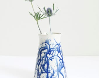 blue dripping vase, medium, pot, handmade, wheel thrown, ceramic, pottery, glazed