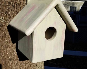 Handmade Hanging Rustic Pink and Green Wood Bird House