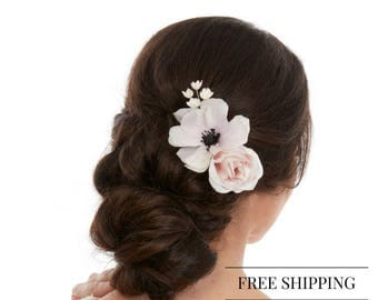 Wedding Hair Clip Flower - Flower Hair Clip - Floral Hair Clip - White Flower Hair Clip - White Flower Hair - Anemone Hair Piece