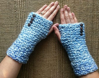 Cozy Blue Hand Warming Fingerless Gloves