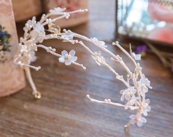 White Cherry Blossom And Butterfly Crown