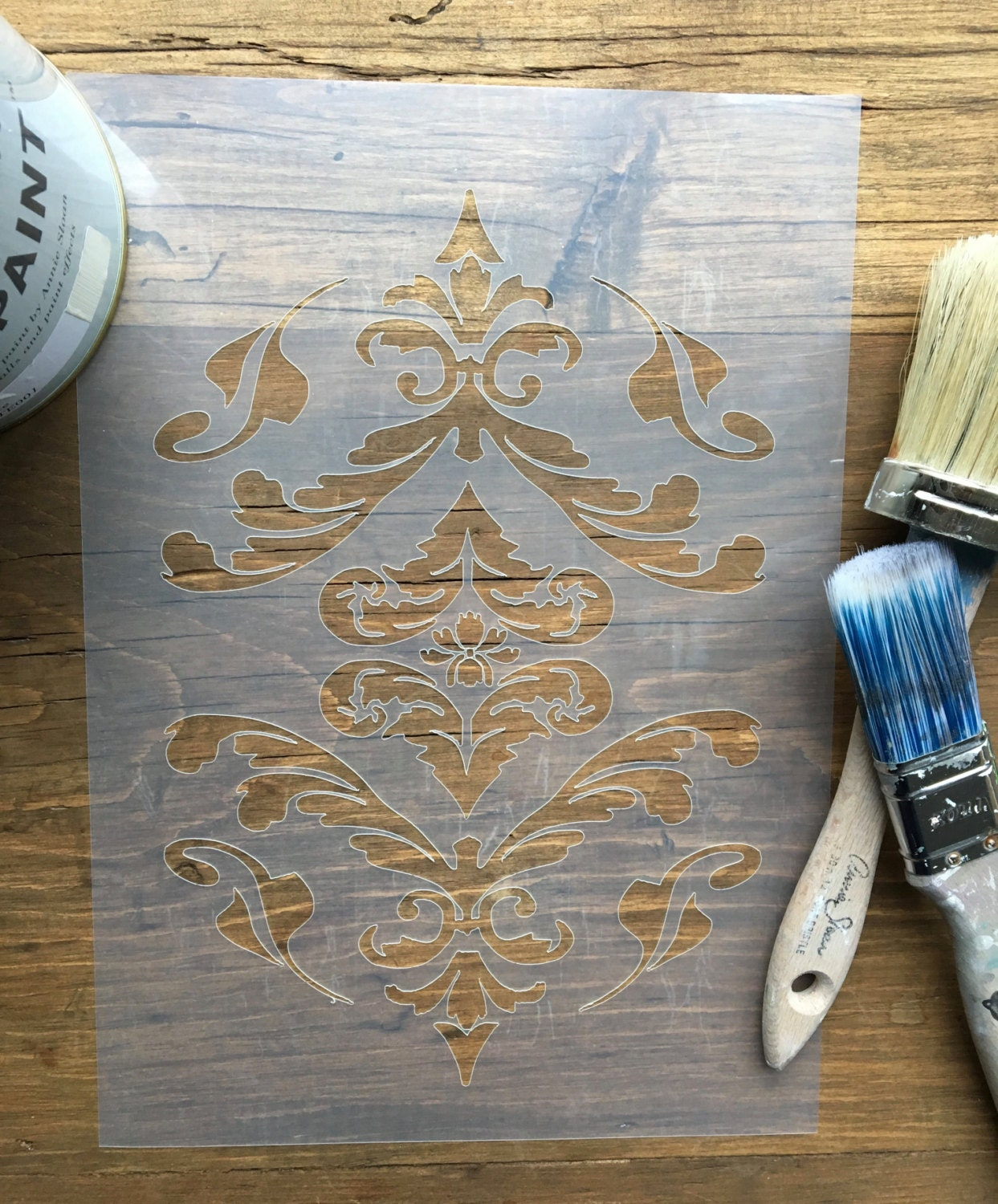 Damask stencil vintage stencil french scroll stencil vintage sold by laseranything amipublicfo Image collections