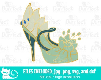 Disney Princess Tiana Shoe SVG, Princess and The Frog SVG, Disney Digital Cut Files in svg, dxf, png and jpg, Printable Clipart