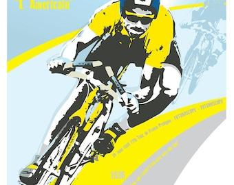 Art quality print Cycling tour de france poster Greg Lemond . 2 styles available. Wall decor art print. Unframed