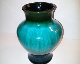 Large Vintage Mid Century Blue Mountain Pottery Vase Blue Green Drip Glaze Canadian Pottery