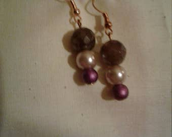Purple and Cream Dangle Earrings