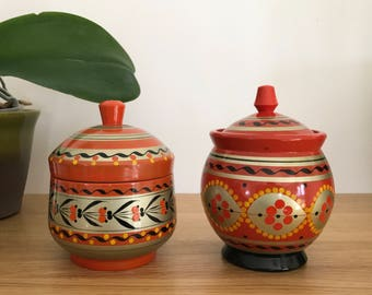 Vintage Hand Painted Russian Folk Art Khohloma Pots