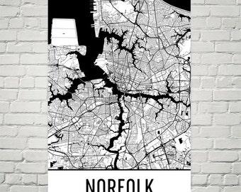 Norfolk Map, Norfolk Art, Norfolk Print, Norfolk VA Poster, Norfolk Wall Art, Norfolk Gift, Map of Norfolk, Norfolk Decor, Modern, Art