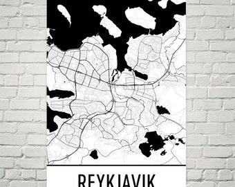Reykjavik Map, Reykjavik Art, Reykjavik Print, Reykjavik Iceland Poster, Reykjavik Wall Art, Reykjavik Gift, Map of Reykjavik, Decor, Art