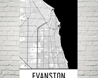 Evanston Map, Evanston Art, Evanston Print, Evanston IL Poster, Evanston Wall Art, Evanston Gift, Map of Evanston, Evanston Decor, Modern