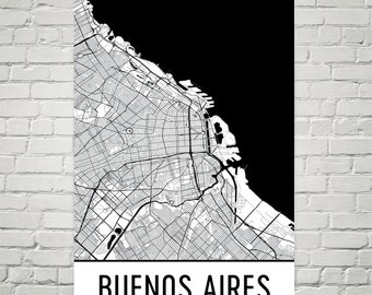 Buenos Aires Argentina Art Poster City Skyline Series Art - Argentina map black and white