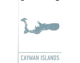 Cayman Islands Map, Cayman Islands Art, Cayman Islands Print, Cayman Islands Poster, Cayman Wall Art, Map of Grand Cayman, Gift, Decor, Art