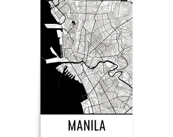 Manila Map, Manila Art, Manila Print, Manila Philippines Poster, Manila Wall Art, Map of Manila, Manila Gift, Manila Poster, Manila Decor