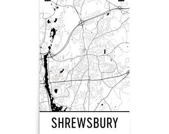 Shrewsbury Map, Shrewsbury Art, Shrewsbury Print, Shrewsbury MA Poster, Shrewsbury Wall Art, Map of Shrewsbury, Shrewsbury Gift, Decor, Map
