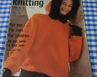 Vintage Vogue Knitting Book No. 61. 1962.  Original.  Fashion. Rare Retro Collectible. Knitting Patterns, knitters