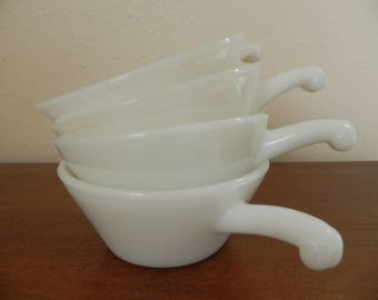 4 Anchor Hocking Fire King Soup Bowls with Handles Milkglass Bowls