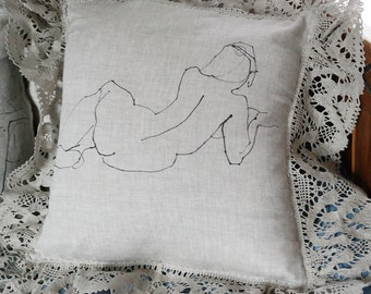 She linen pillow with matching lace trim