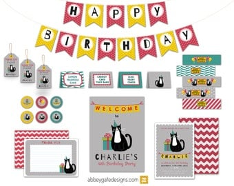 Cat Birthday Kit, Personalised Cat Party Bundle, Printable Cat Party, Cat Birthday Invitation, Cat Party Decor, Red and Yellow Party Kit