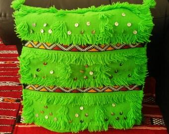 Moroccan Berber handire cushion made hand decorated sequins mouzouna - SUPER offer!